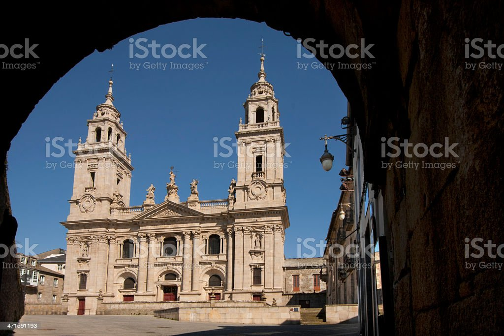 Roman wall and cathedral in Lugo, Spain royalty-free stock photo