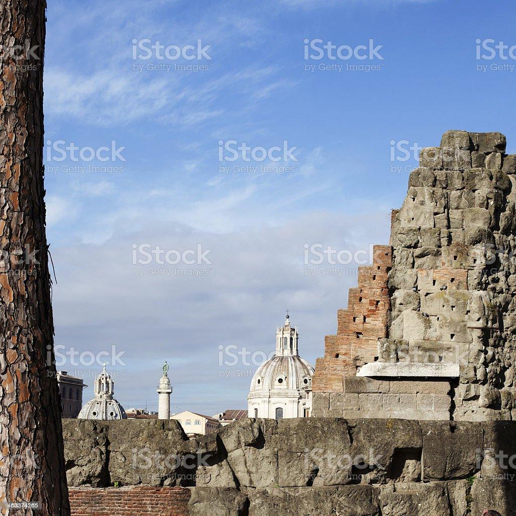 Roman Wall and Skyline royalty-free stock photo