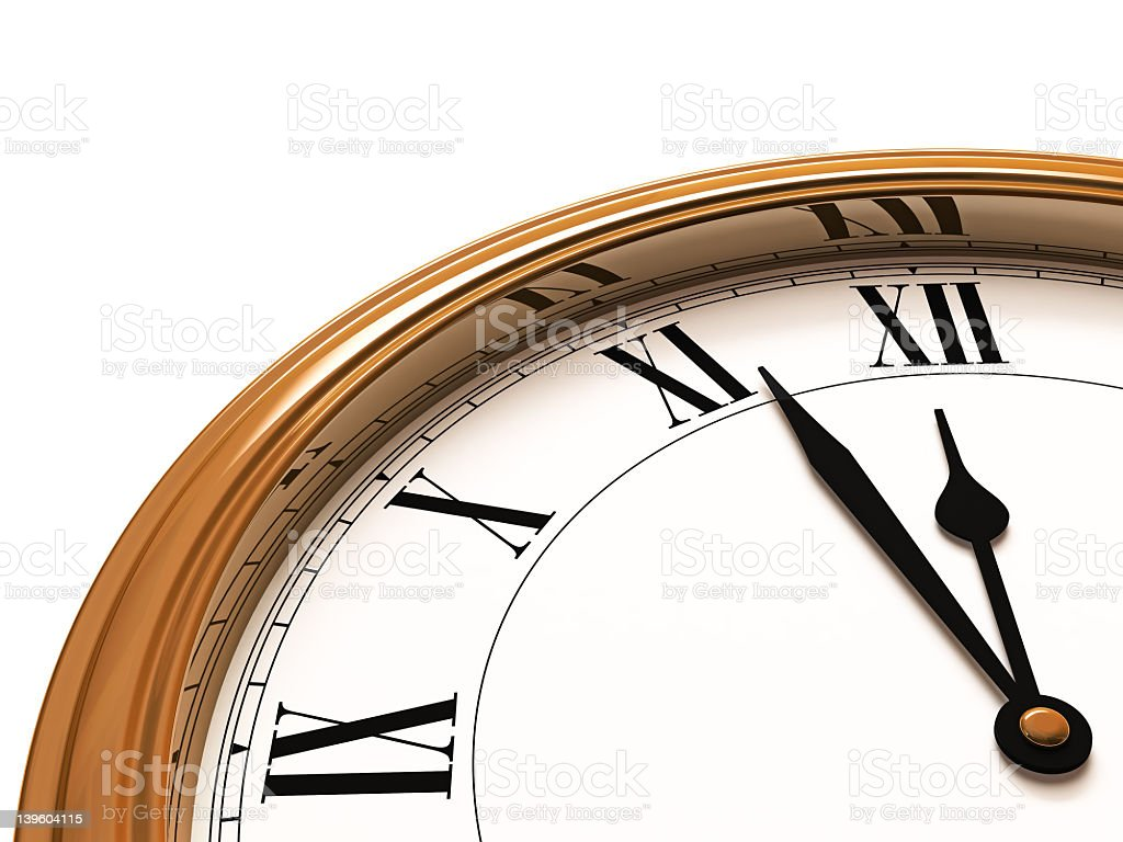 Roman Wall Clock - Close Up (Isolated with clipping path) royalty-free stock photo