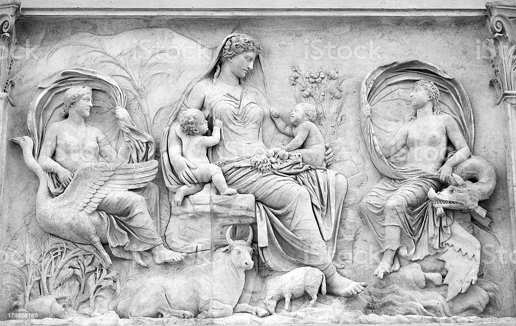 Roman Woman Bas Relief at the Ara Pacis stock photo