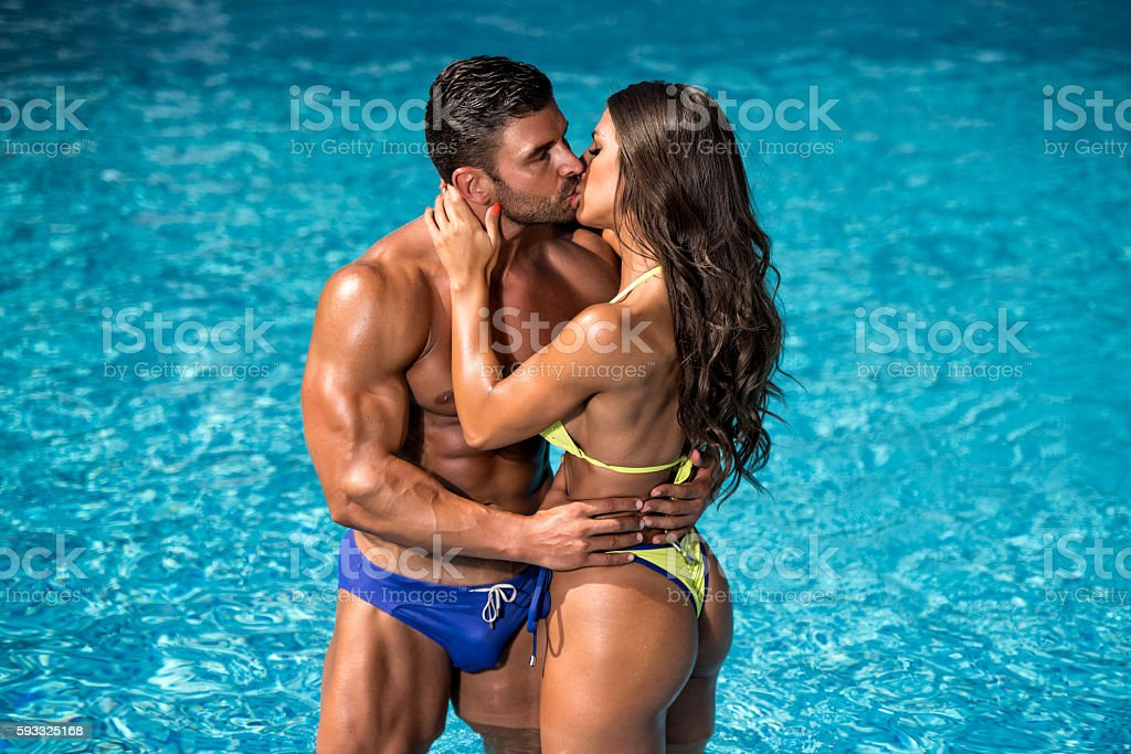 Romance at the Swimming Pool stock photo