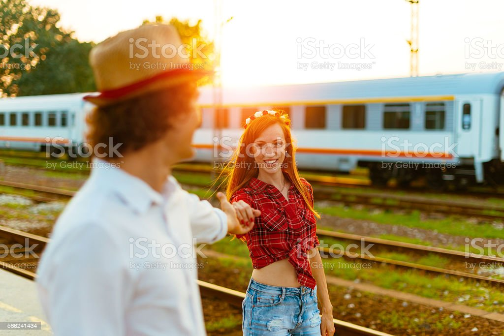 Romance at train station in summer stock photo