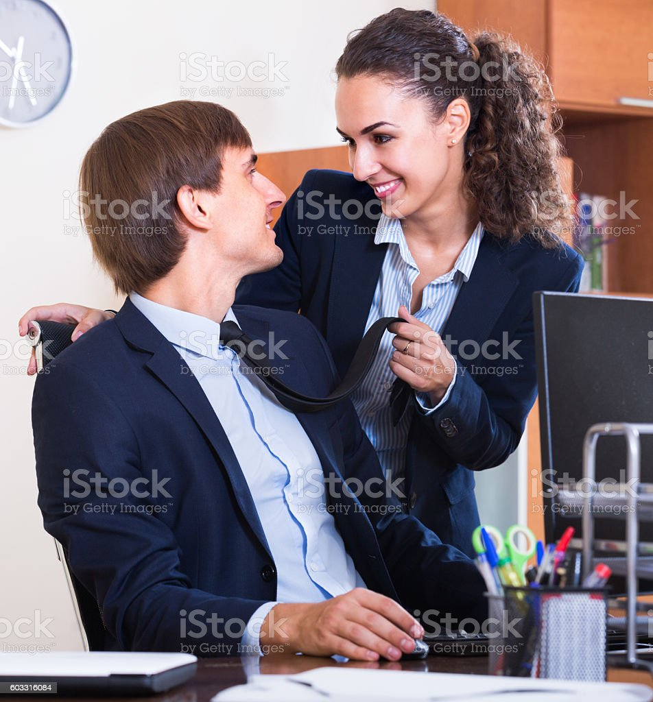 Romance between chief and assisttant stock photo