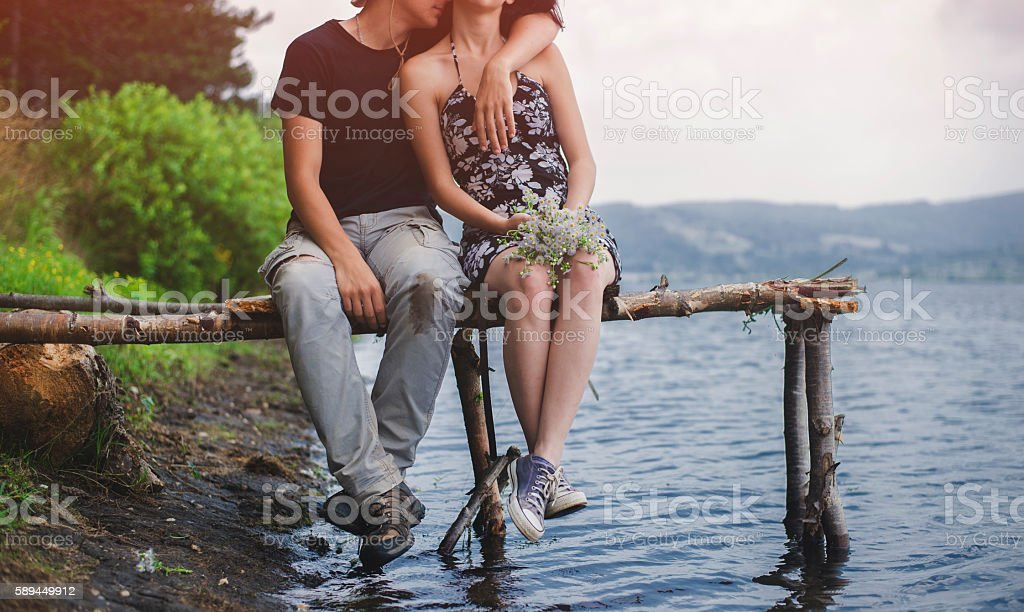 Romance by the lake stock photo