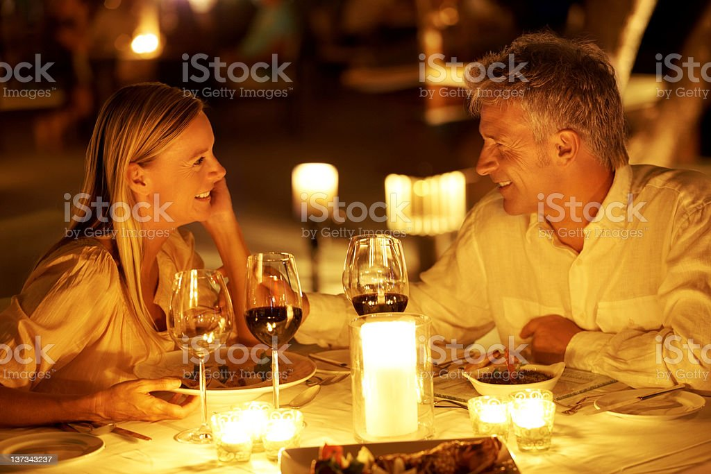 Romance in a restaurant stock photo