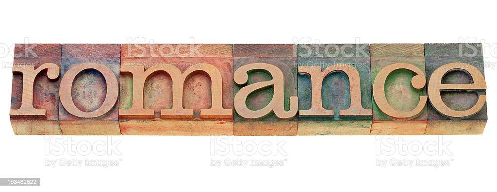 romance in letterpress type royalty-free stock photo