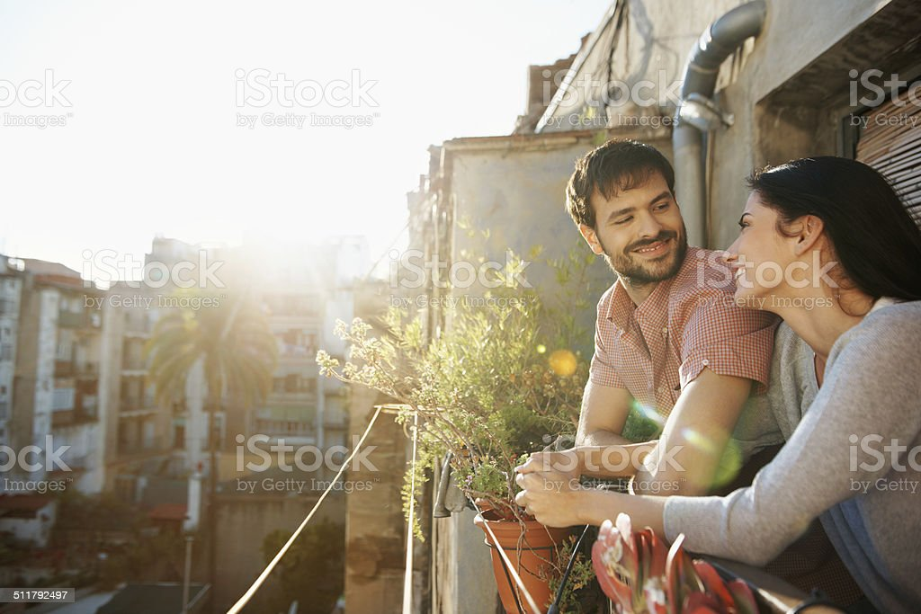 Romance in the sunshine stock photo