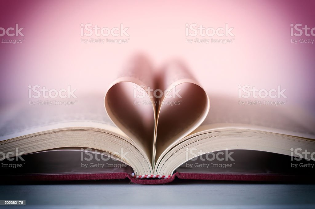 Romance novel heart shaped stock photo