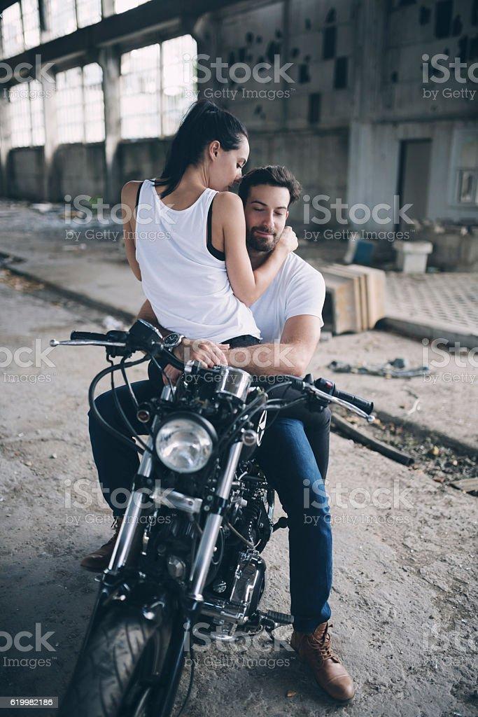 Romance On A Bike stock photo