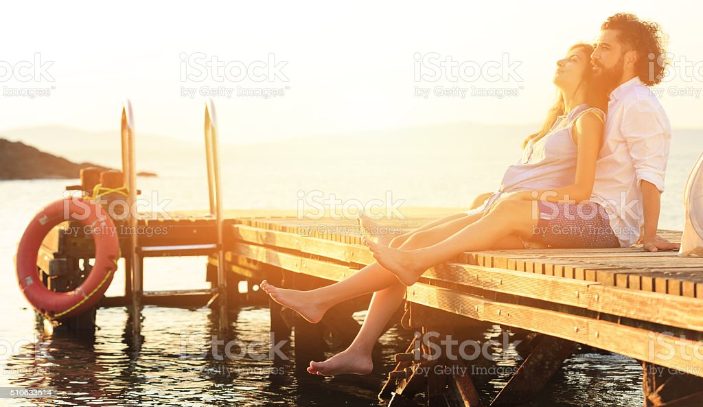 Romance on the dock stock photo