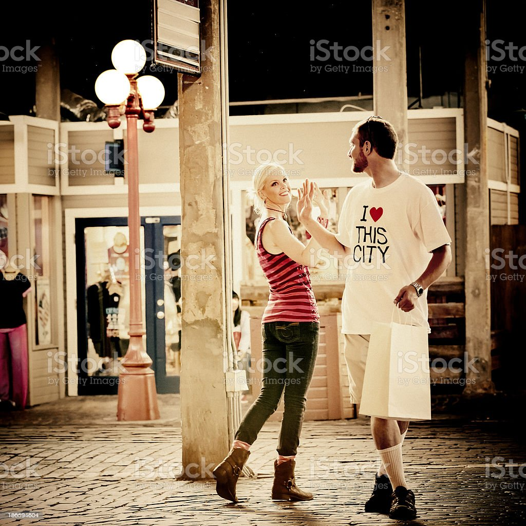 Romance on the street. stock photo