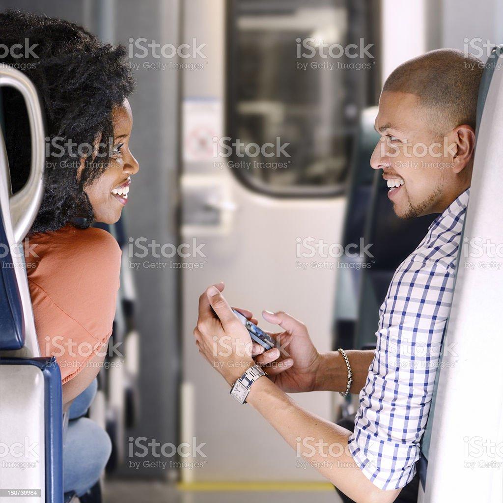 Romance on the train stock photo