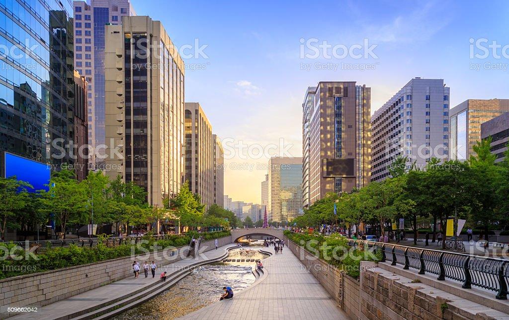 Romance Stream Sunset In Seoul City stock photo