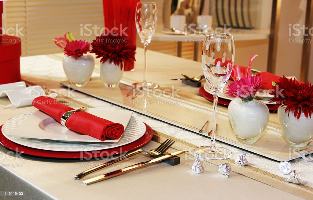 Romance table settig for two in red royalty-free stock photo