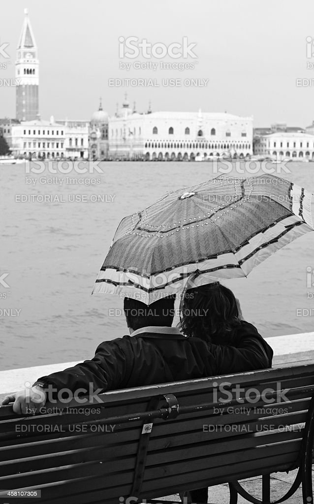 Romance under the rain royalty-free stock photo