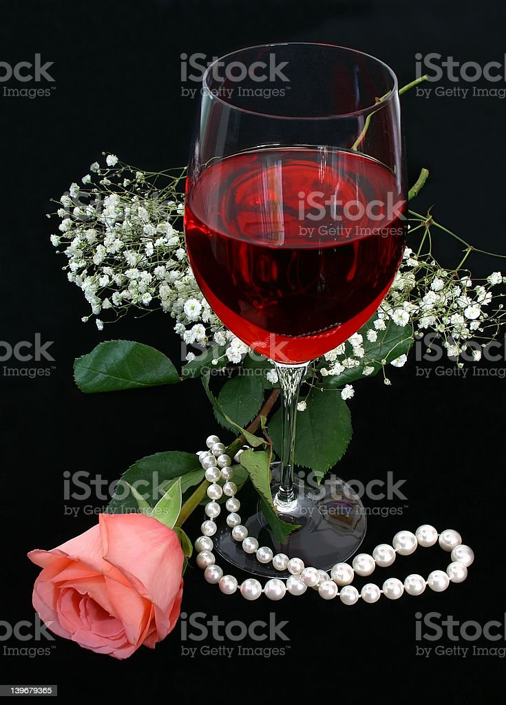 Romance, Wine and Pearls royalty-free stock photo