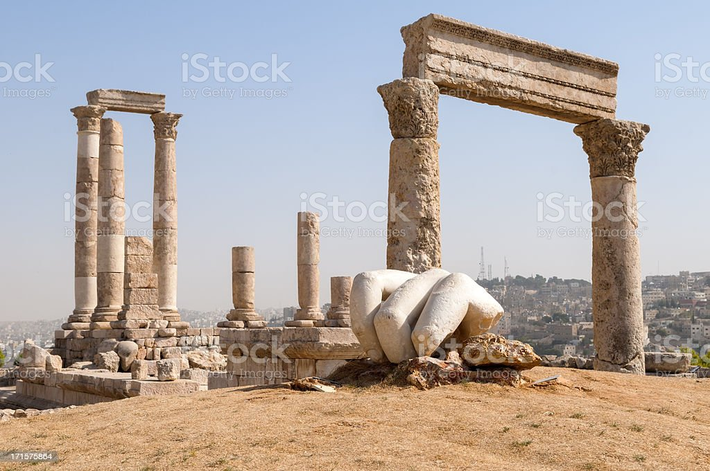 Temple of Hercules at Amman Citadel in Jordan stock photo