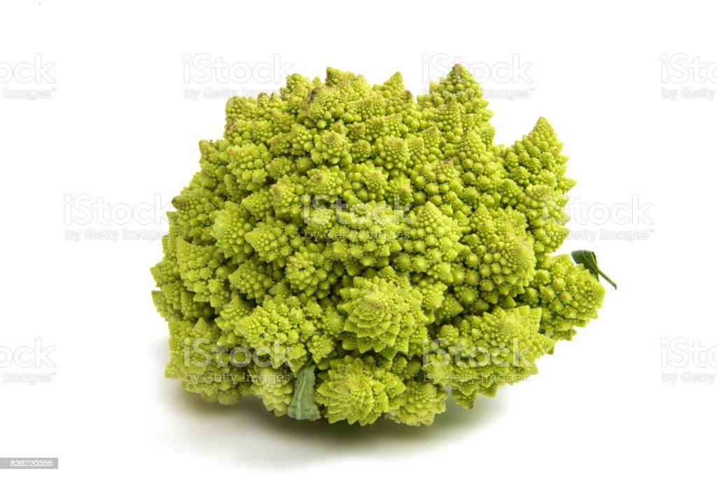 Romanesco broccoli cabbage isolated stock photo