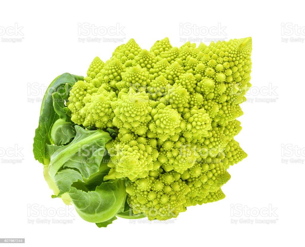 Romanesco broccoli, or Roman cauliflower isolated without shadow stock photo