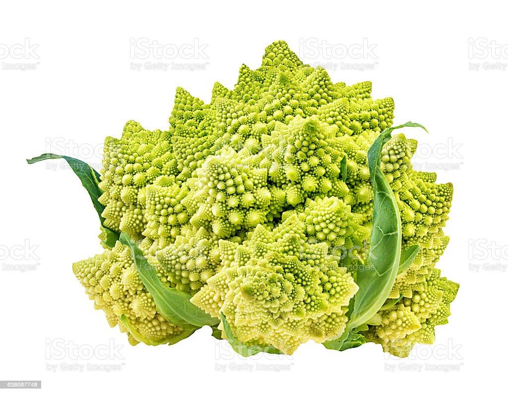 Romanesco broccoli, or Roman cauliflower on the white stock photo