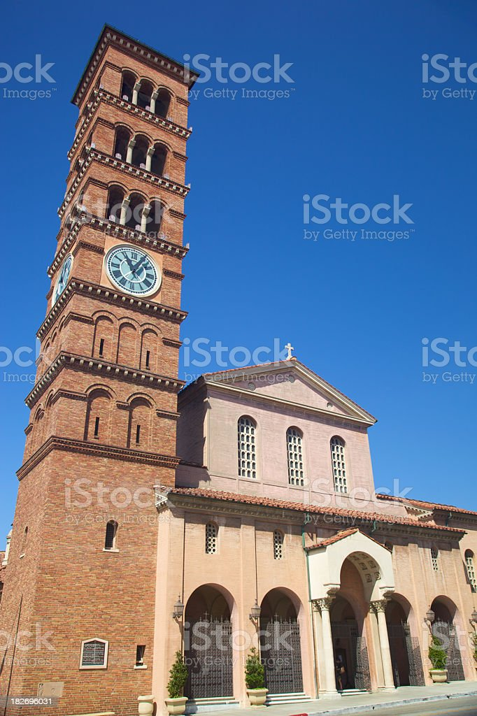 Romanesque Bell Tower and Church royalty-free stock photo