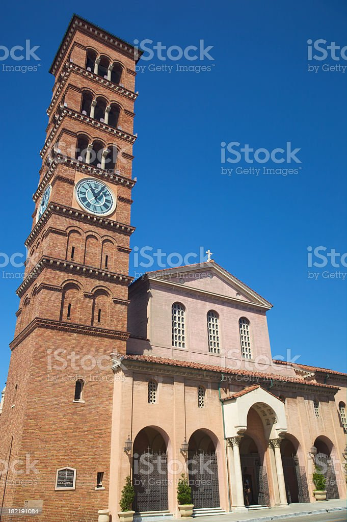 Romanesque Bell Tower and Church - Version 2 royalty-free stock photo
