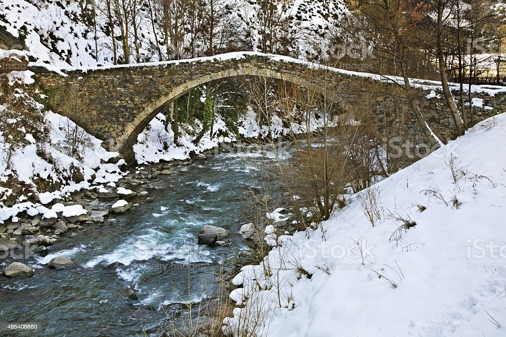 Romanesque bridge in La Margineda. Principality of Andorra stock photo
