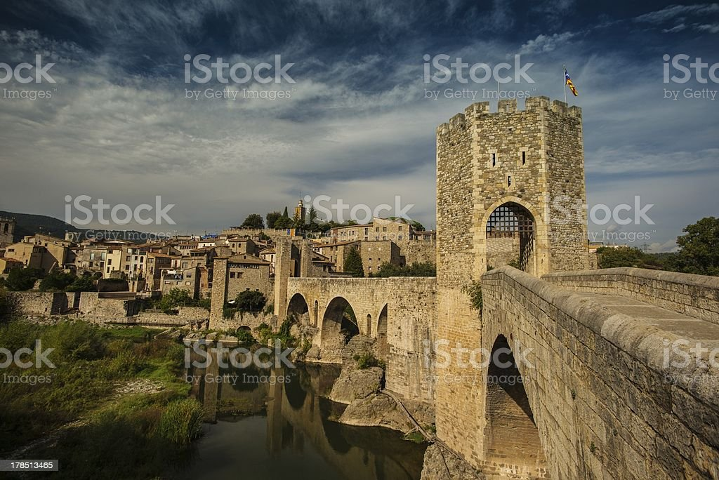 Romanesque bridge over river, Besalu royalty-free stock photo