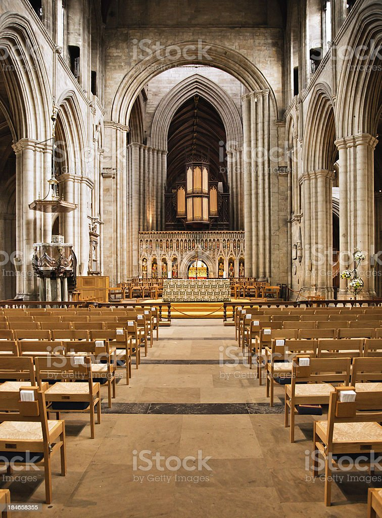 Romanesque Cathedral Nave stock photo