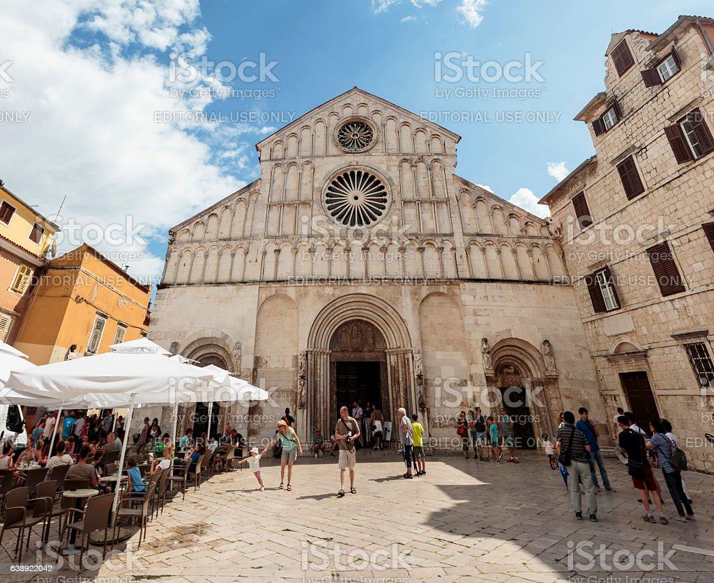 Romanesque cathedral of St. Anastasia, Zadar stock photo