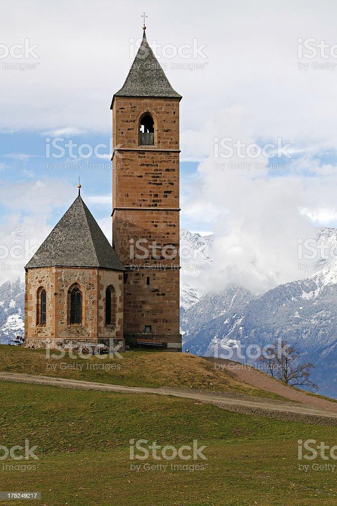 Romanesque chapel in Avelengo stock photo