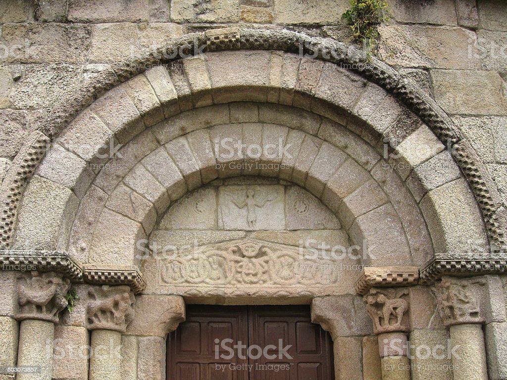Romanesque church entrance. royalty-free stock photo
