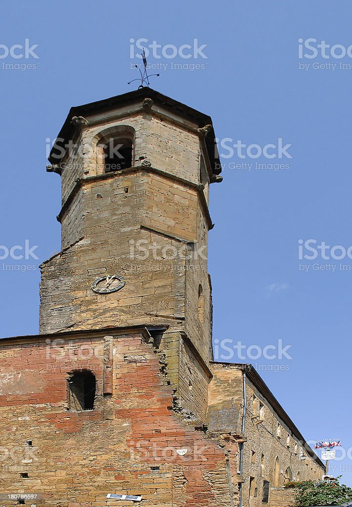 Romanesque church in Belves, France royalty-free stock photo