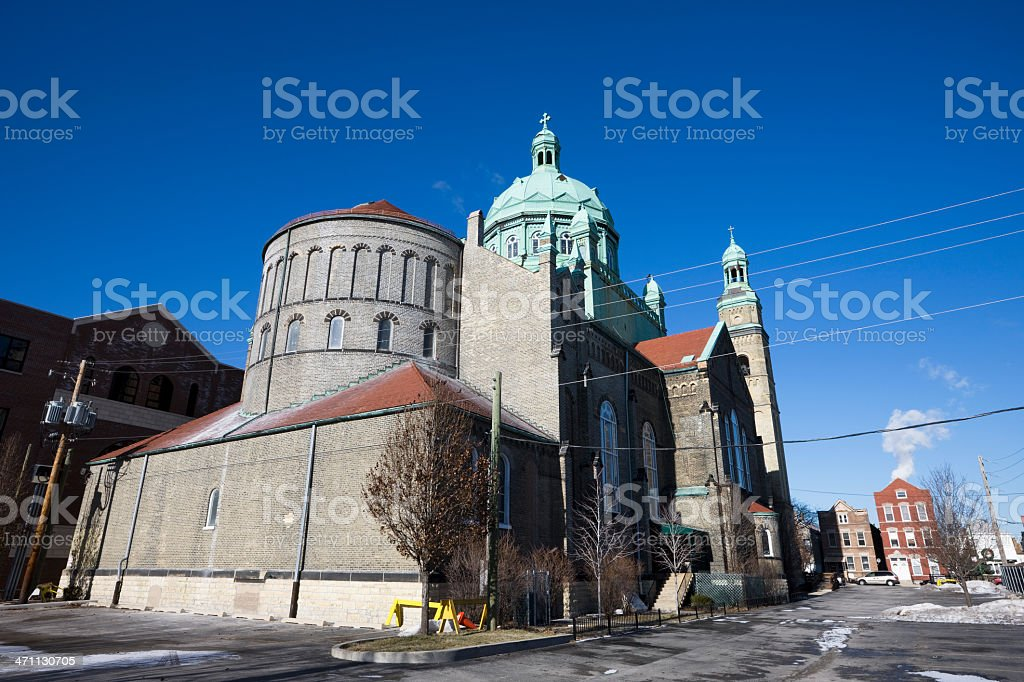 Romanesque Church in Chicago stock photo