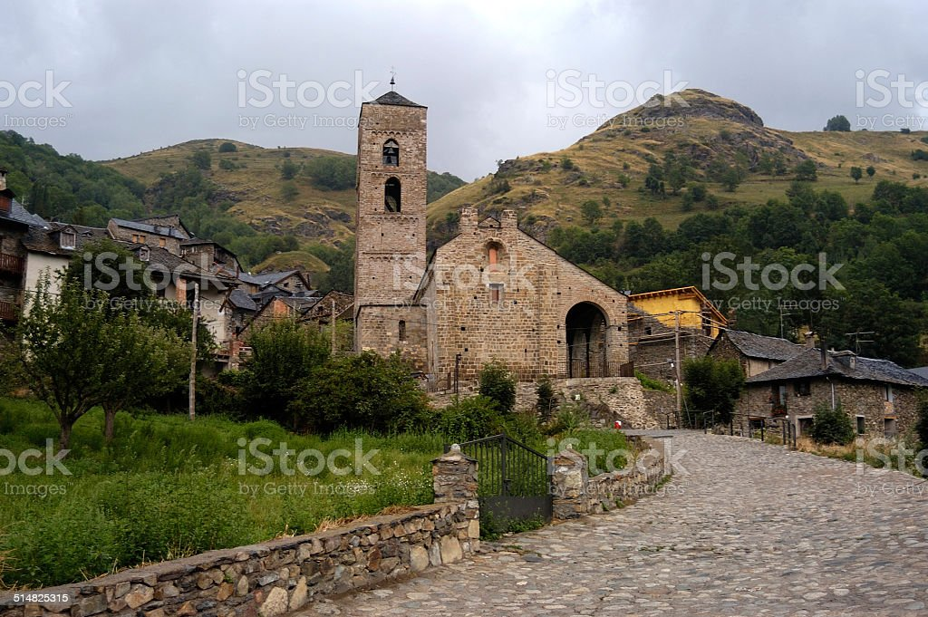 Romanesque church of La Nativitat , Durro, Catalonia stock photo