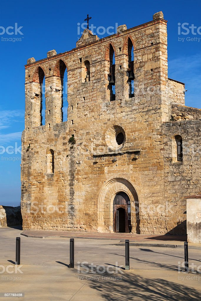 Romanesque church of Peratallada stock photo