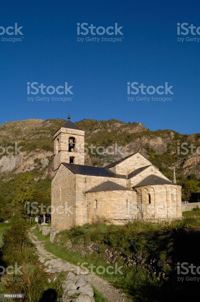 Romanesque church of Sant Feliu Barruera, Catalonia,Spain stock photo