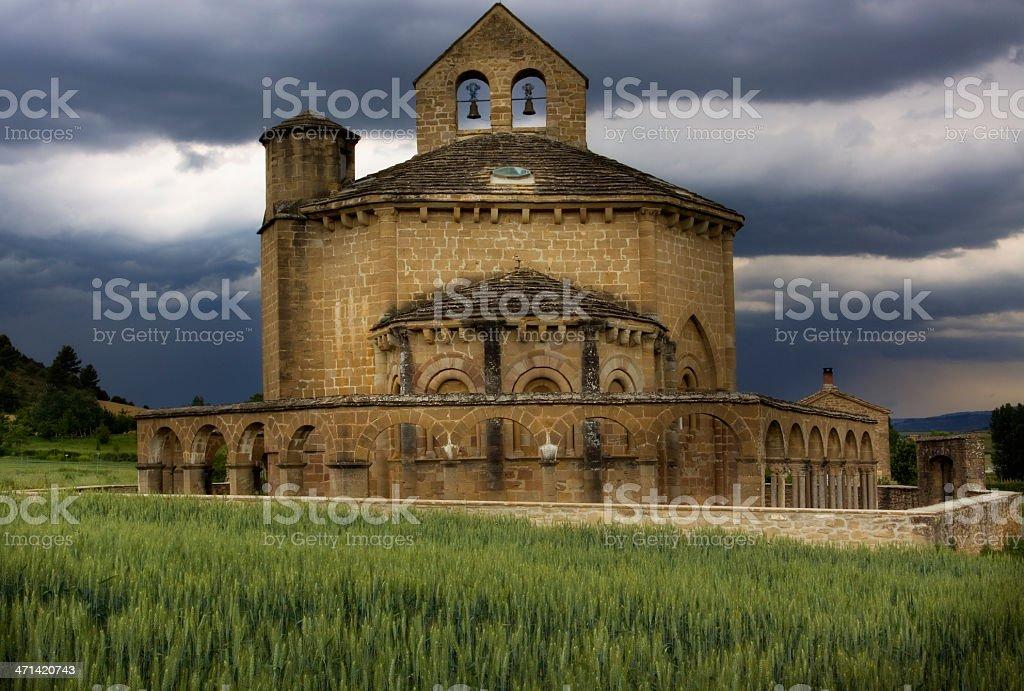 Romanesque church of ' Santa Maria de Eunate' (navarra,Spain) stock photo