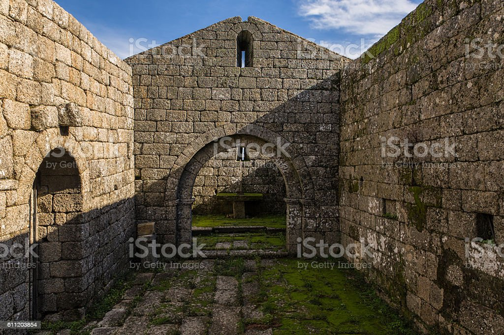 Romanesque hermitage of San Miguel, 12th century stock photo