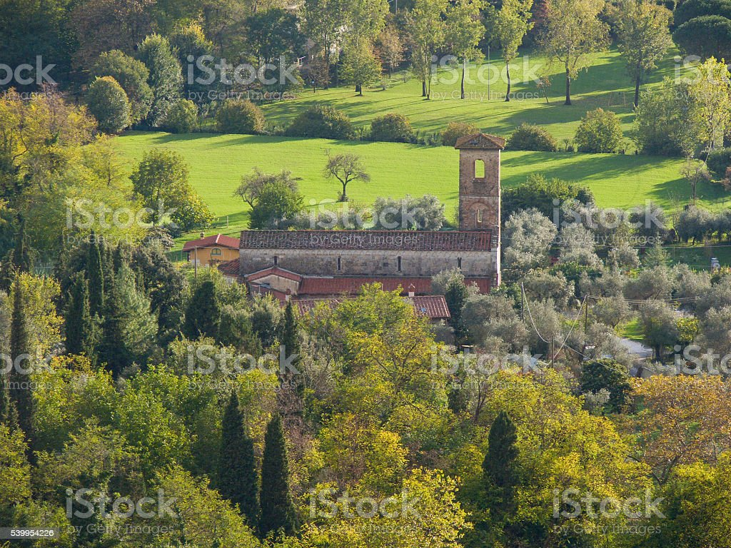 Romanesque parish church in Valdicastello Pietrasanta view from stock photo