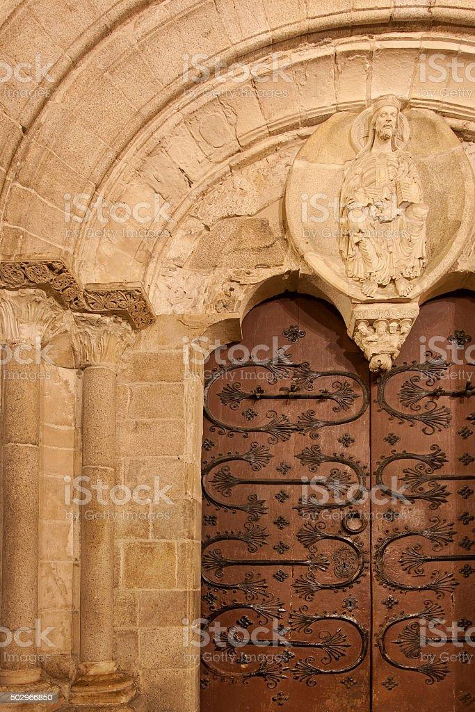 Romanesque portico, Lugo cathedral, Galicia, Spain. stock photo