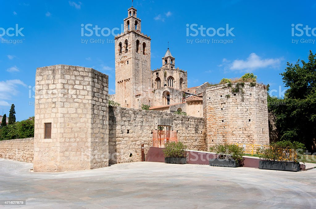 Romanesque Sant Cugat monastery in Barcelona royalty-free stock photo