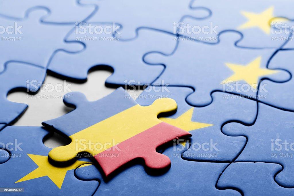 Romania. Exit from European Union concept puzzle stock photo