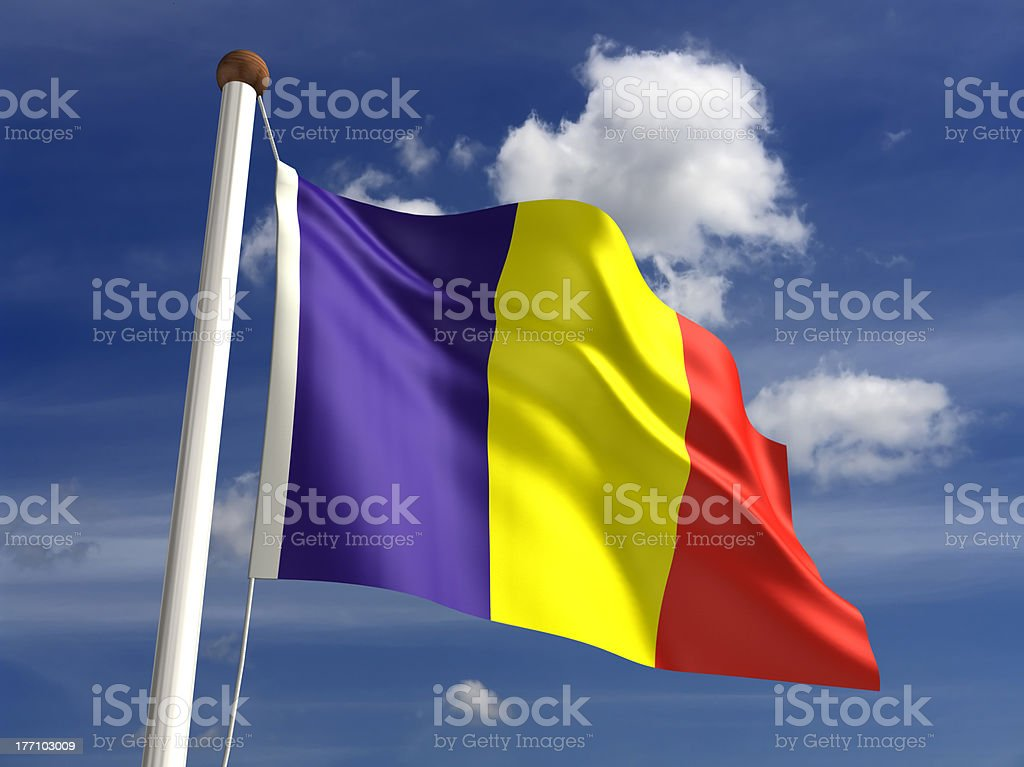 Romania flag (with clipping path) stock photo