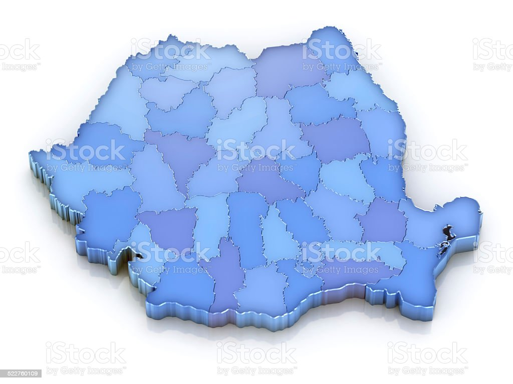 Romania map with counties 3d isolated on white stock photo