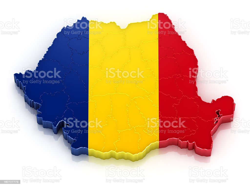 Romania map with flag stock photo