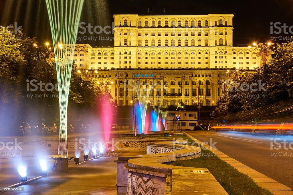 Romania Parliament Palace by Night stock photo