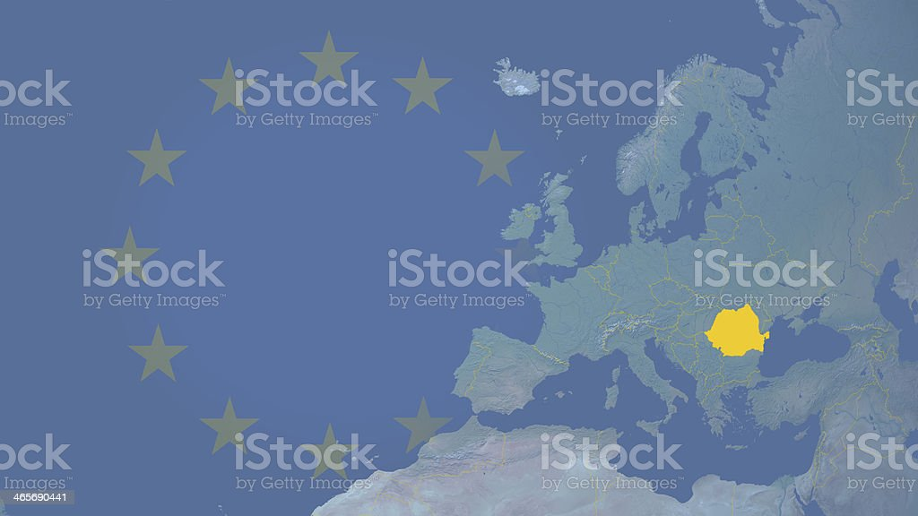 Romania part of  European union since 2007 16:9 with borders royalty-free stock photo