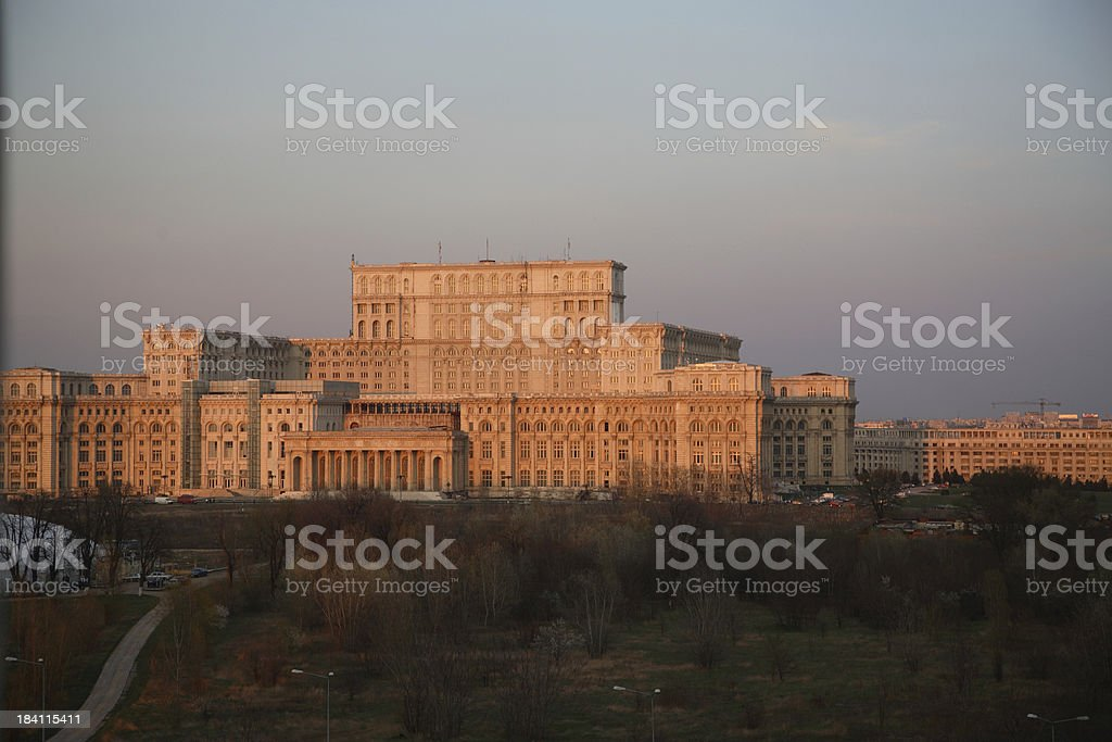 Romania: Peoples Palace Sunset stock photo