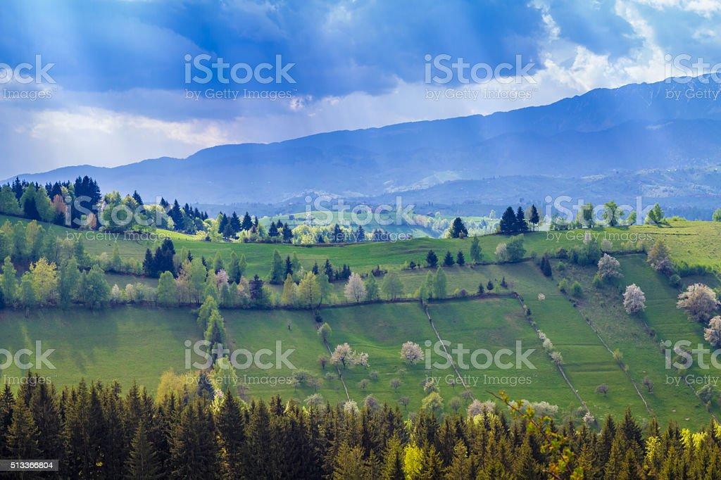 Romania, Transylvania. Romanian landscape in springtime stock photo